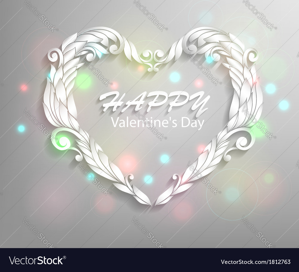 Happy valentines day card design ornamental heart vector