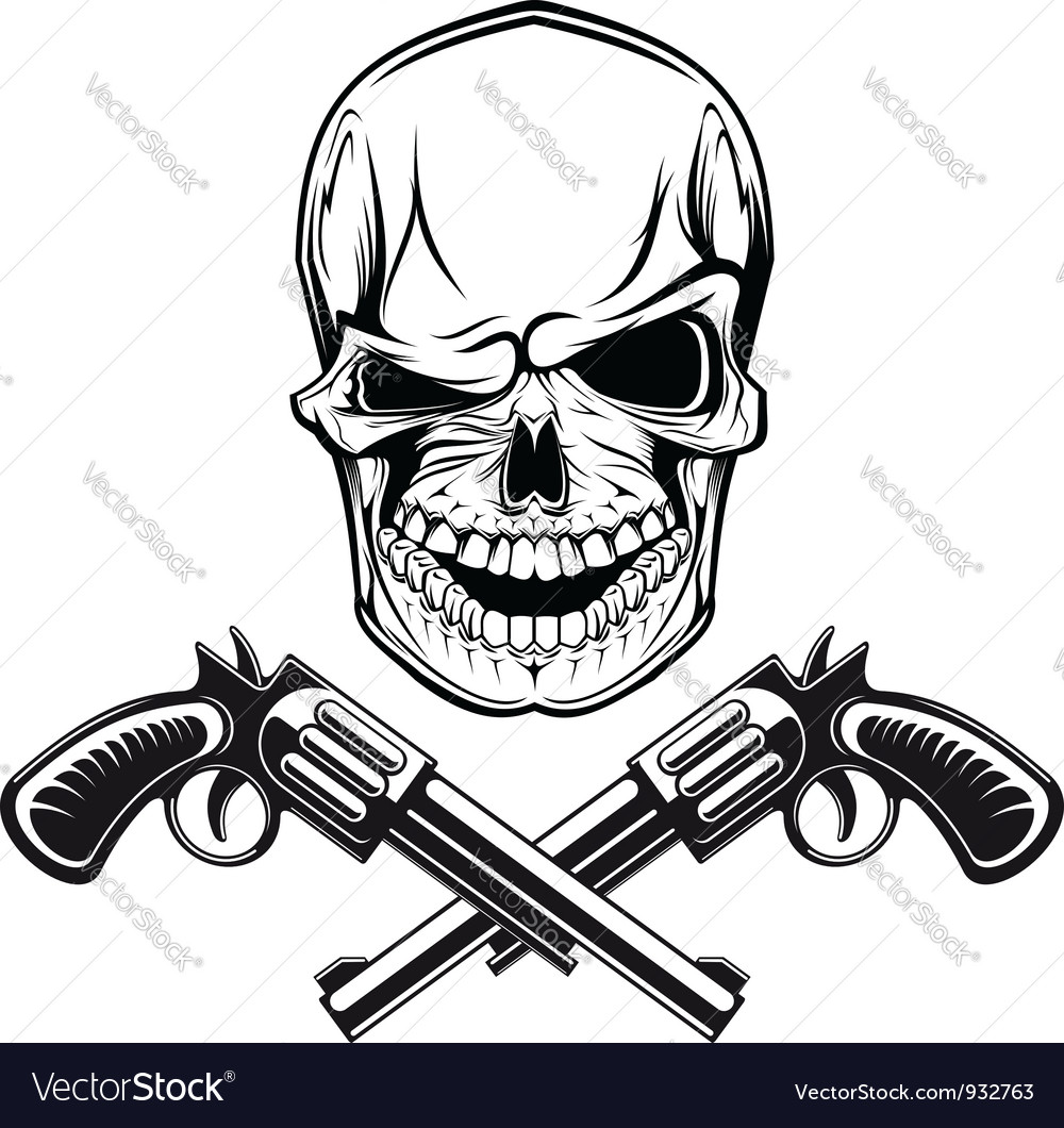 Smiling skull with revolvers vector