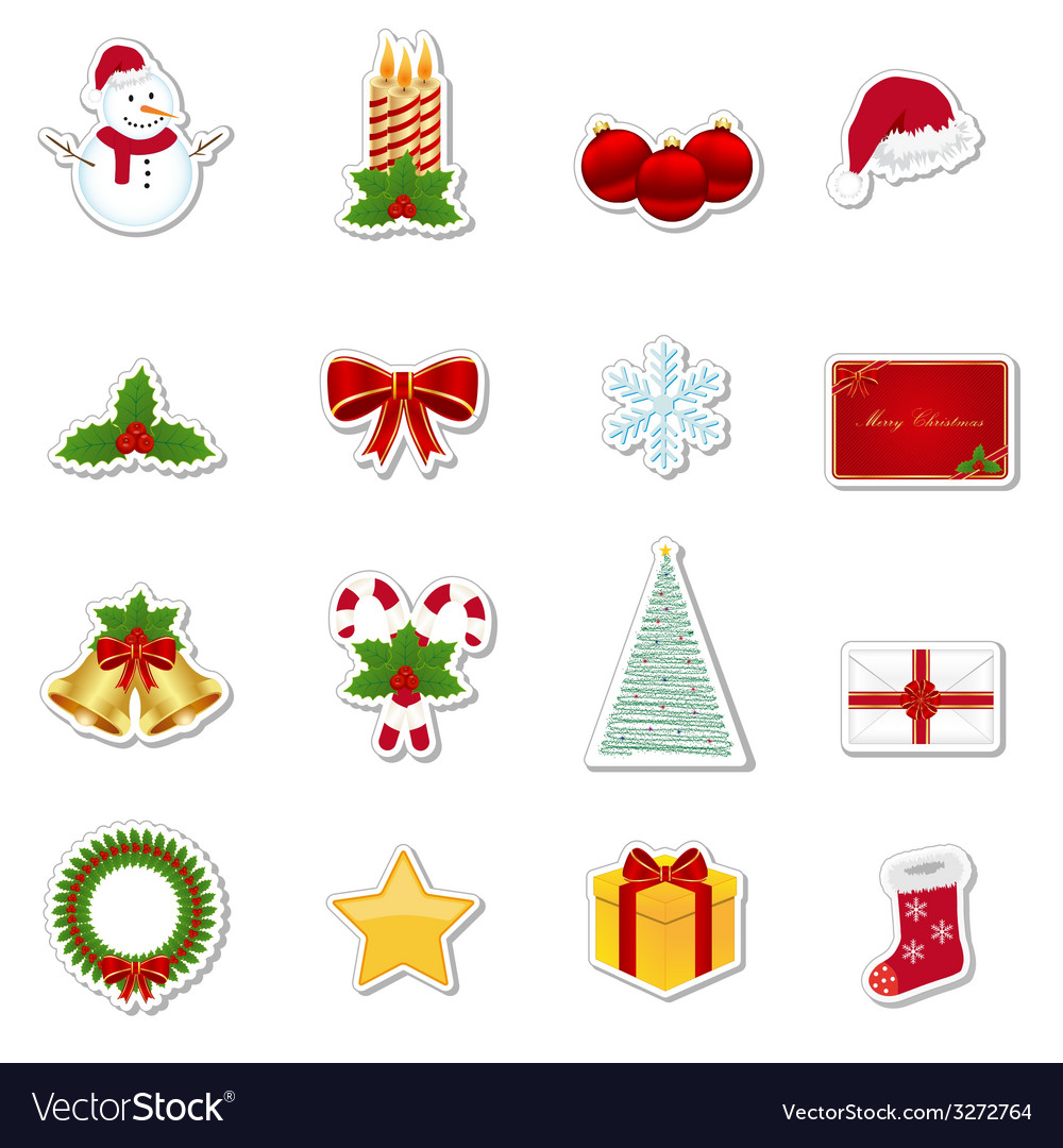 Christmas stickers vector