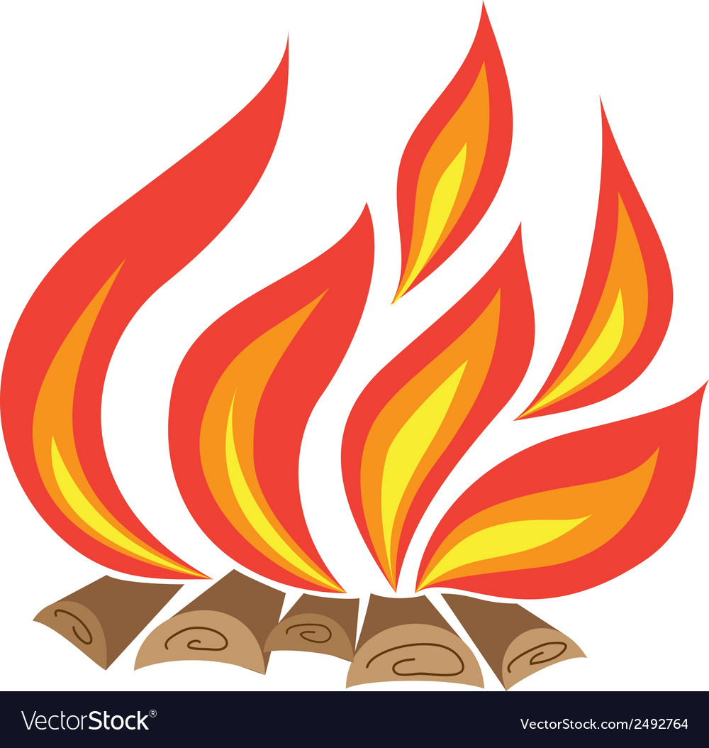 Fire with wood vector