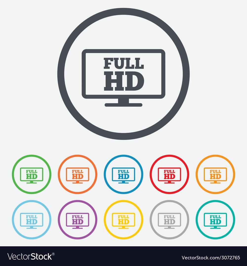 Full hd widescreen tv high-definition symbol vector