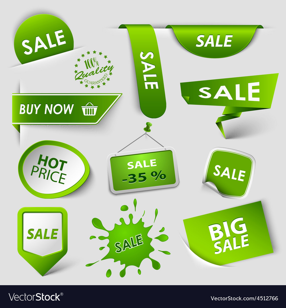 Collection web green pointers labels for shopping vector