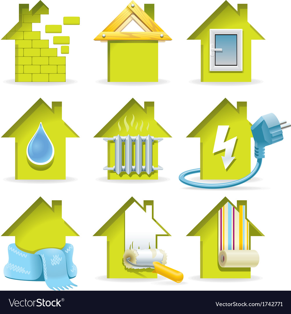 Home construction icons vector