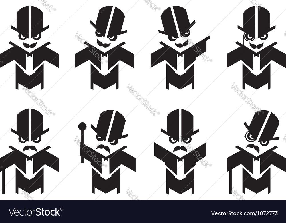 Old fashoined gent mascot humor set vector