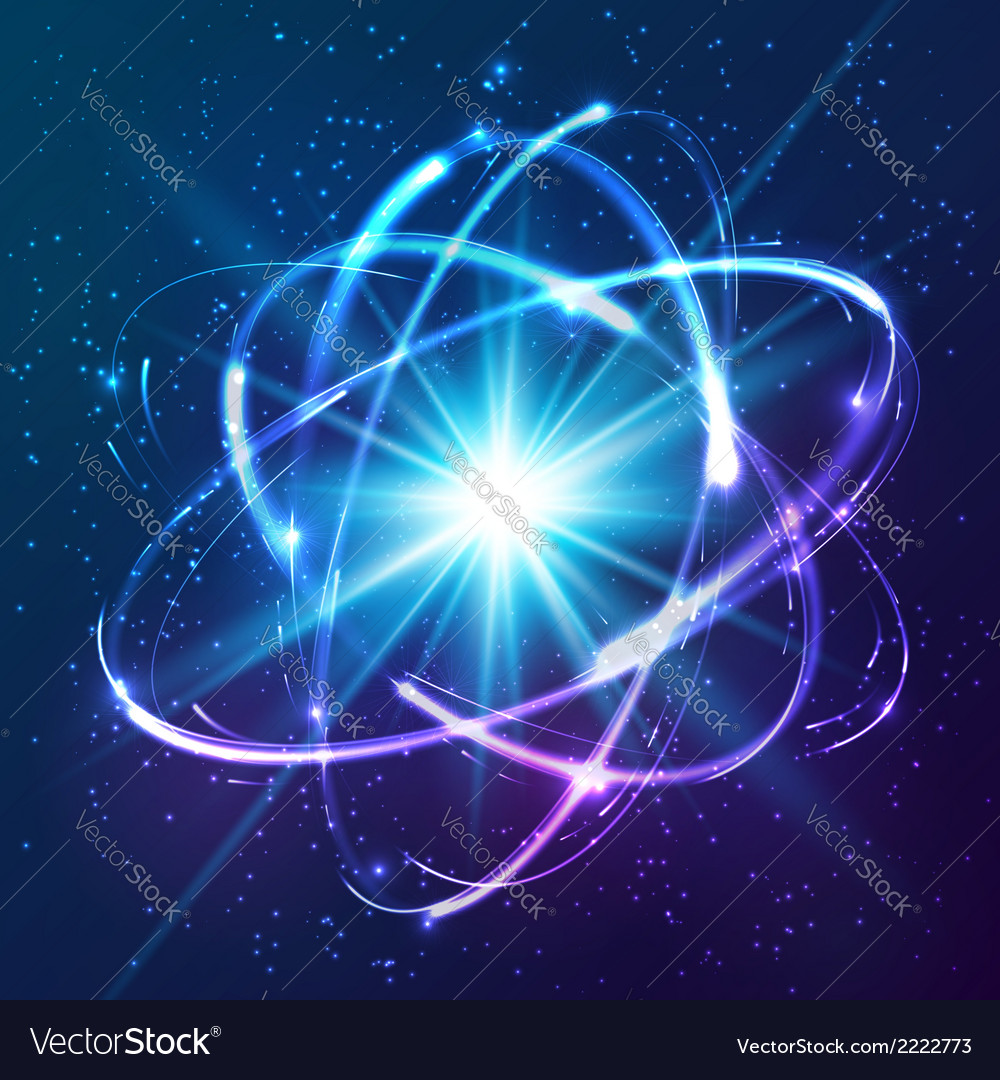 Shining neon lights atom model vector
