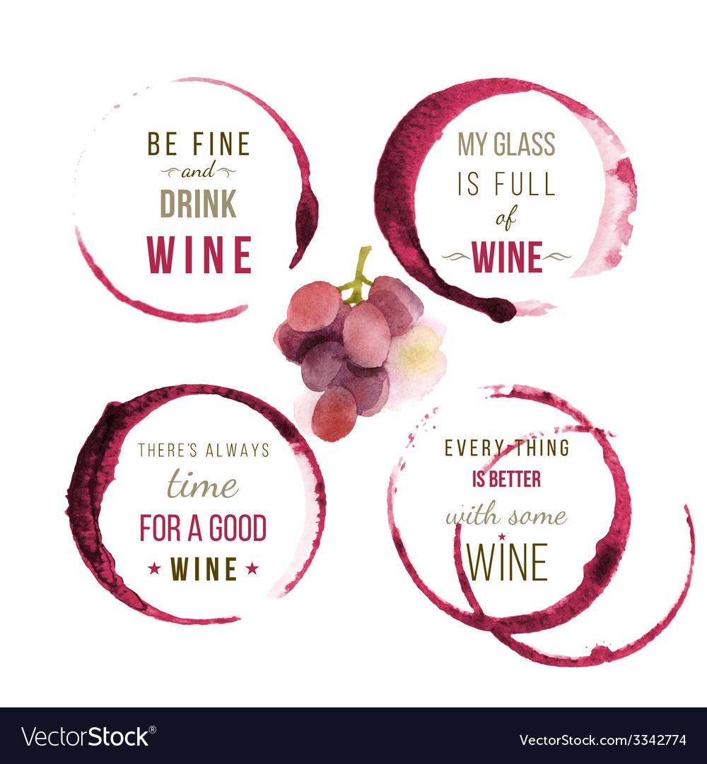 Watercolor wine type designs vector