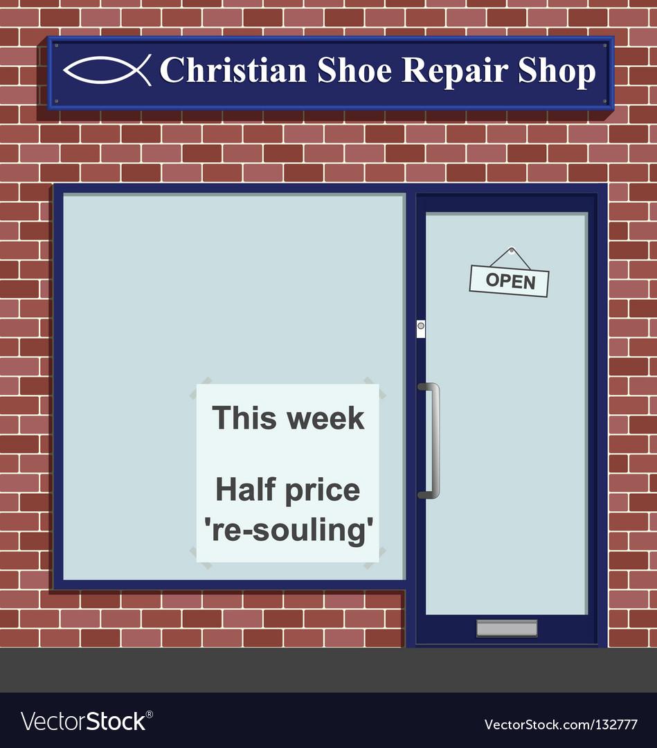 Christian shoe repairs vector