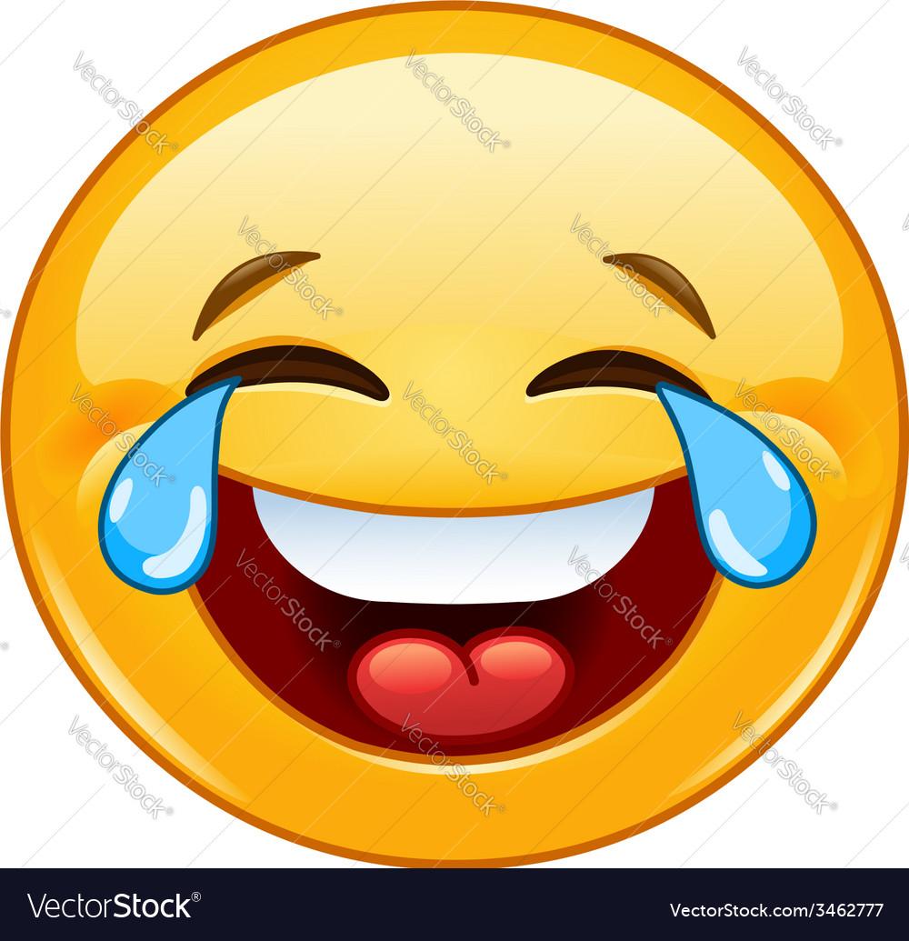 Emoticon with tears of joy vector