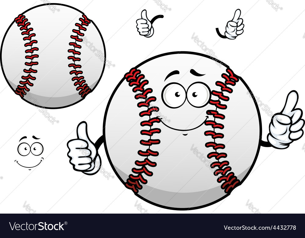 Cartoon baseball ball with thumb up vector