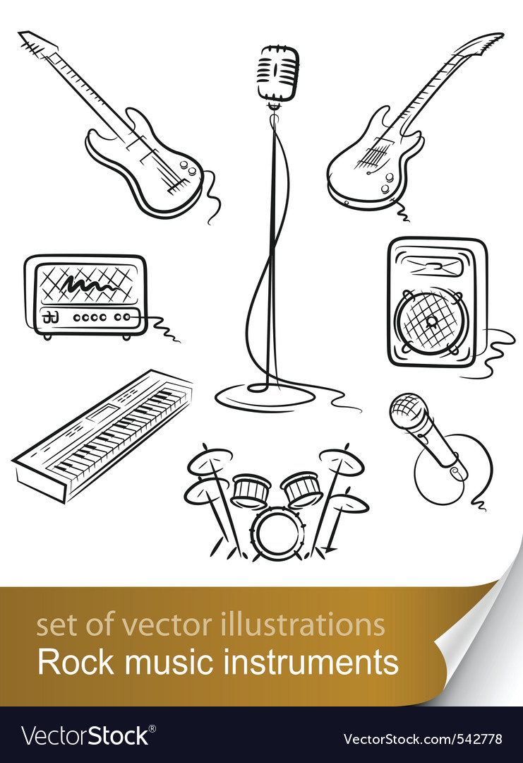 Rock music instruments vector