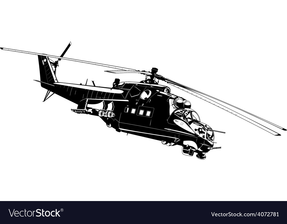 Attack helicopter mi-24 vector