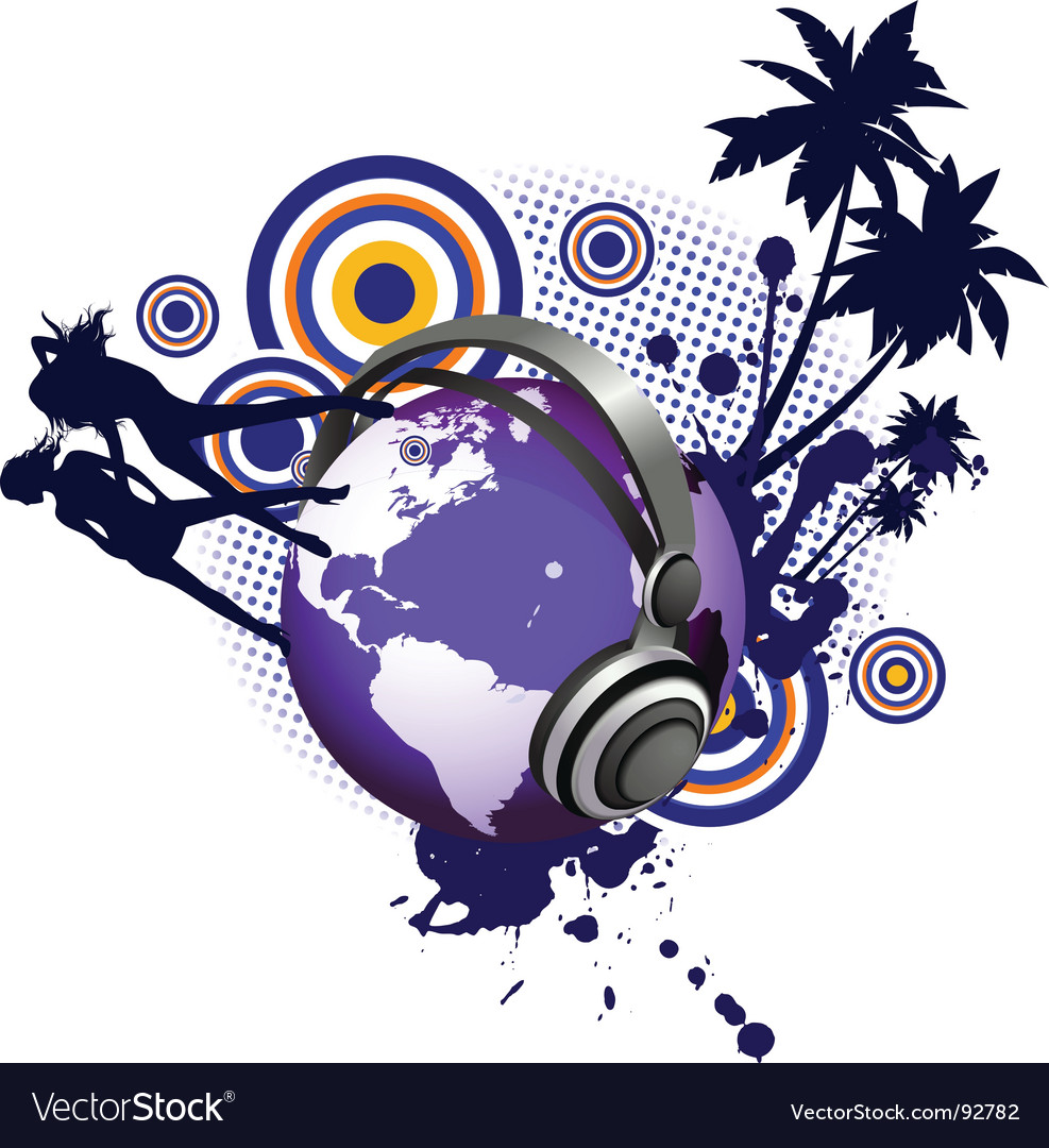Globe with dancing youth women vector