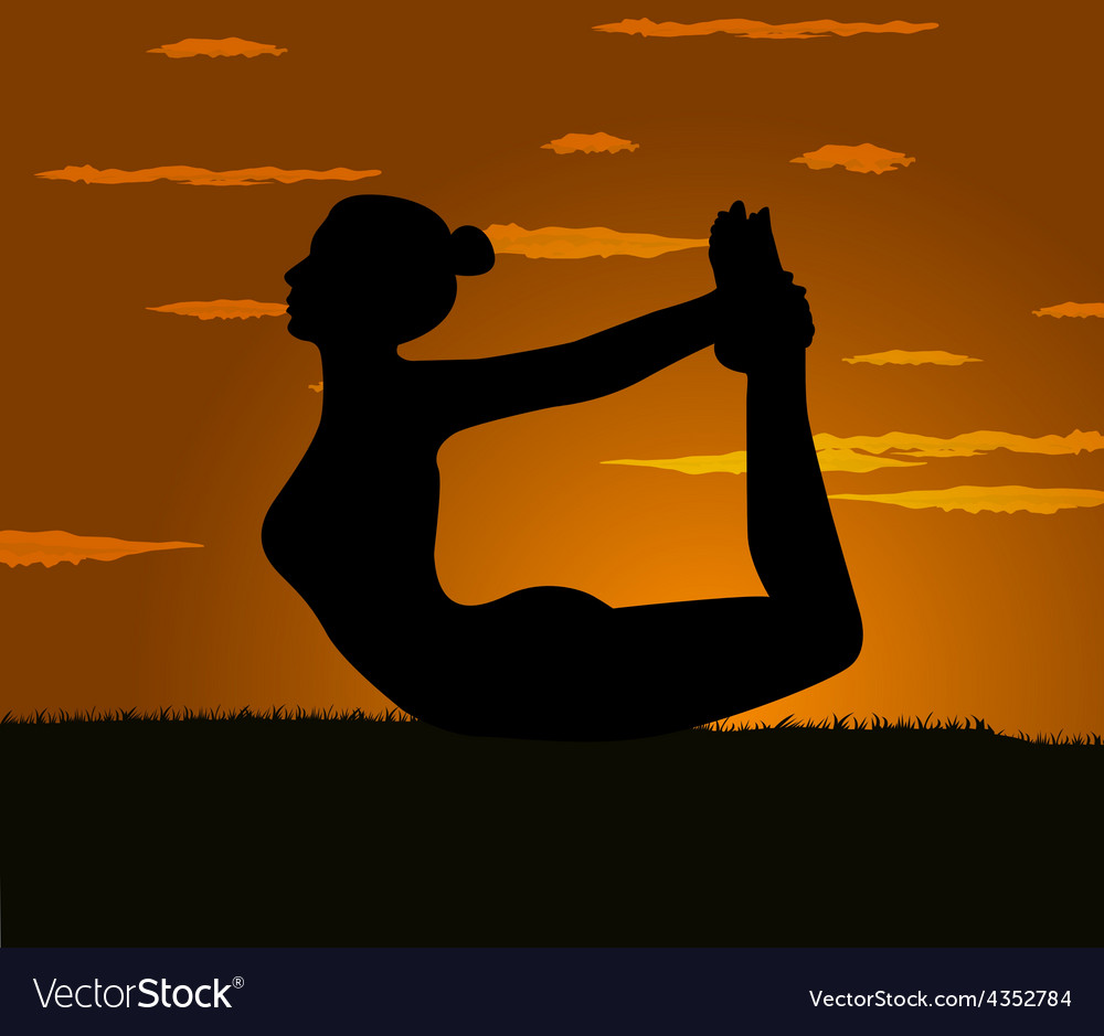 Girl makes yoga exercise at the gloaming vector