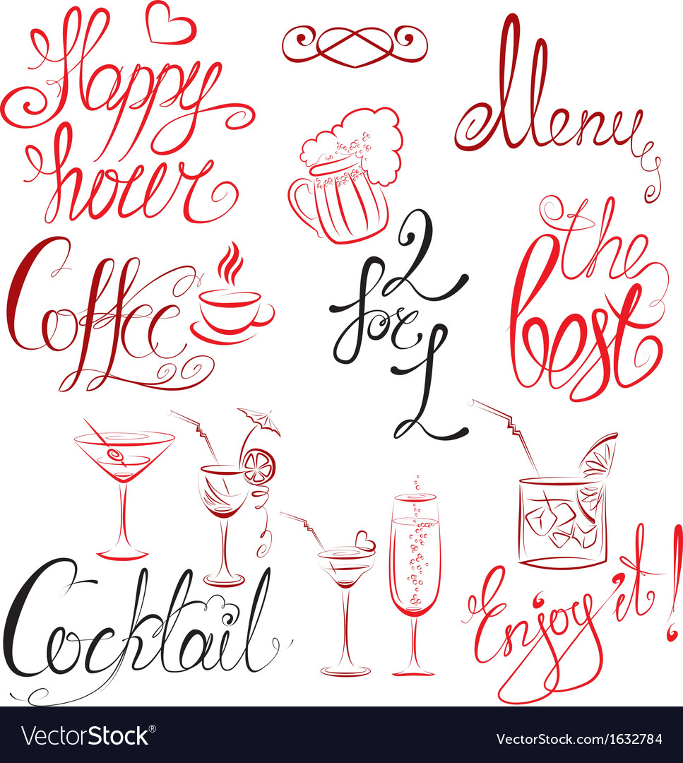 Set of hand written text happy hour menu coffee co vector