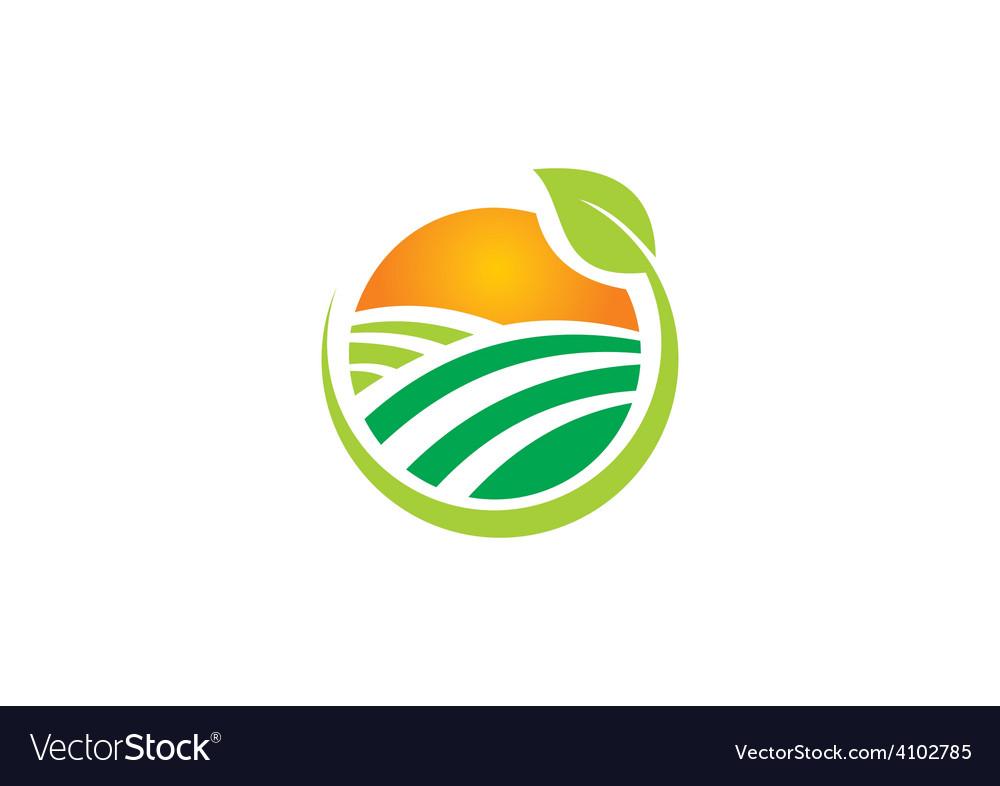 Nature village sun ecology abstract logo vector