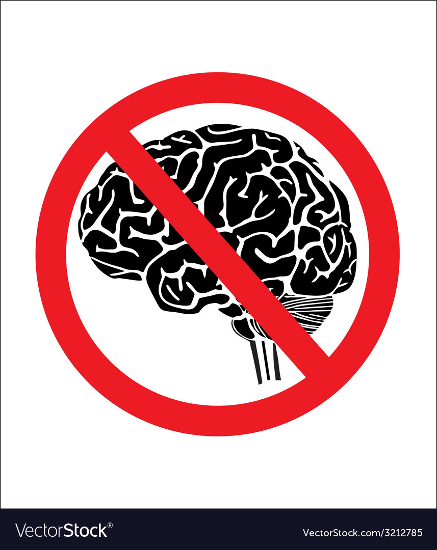 No think with brain vector