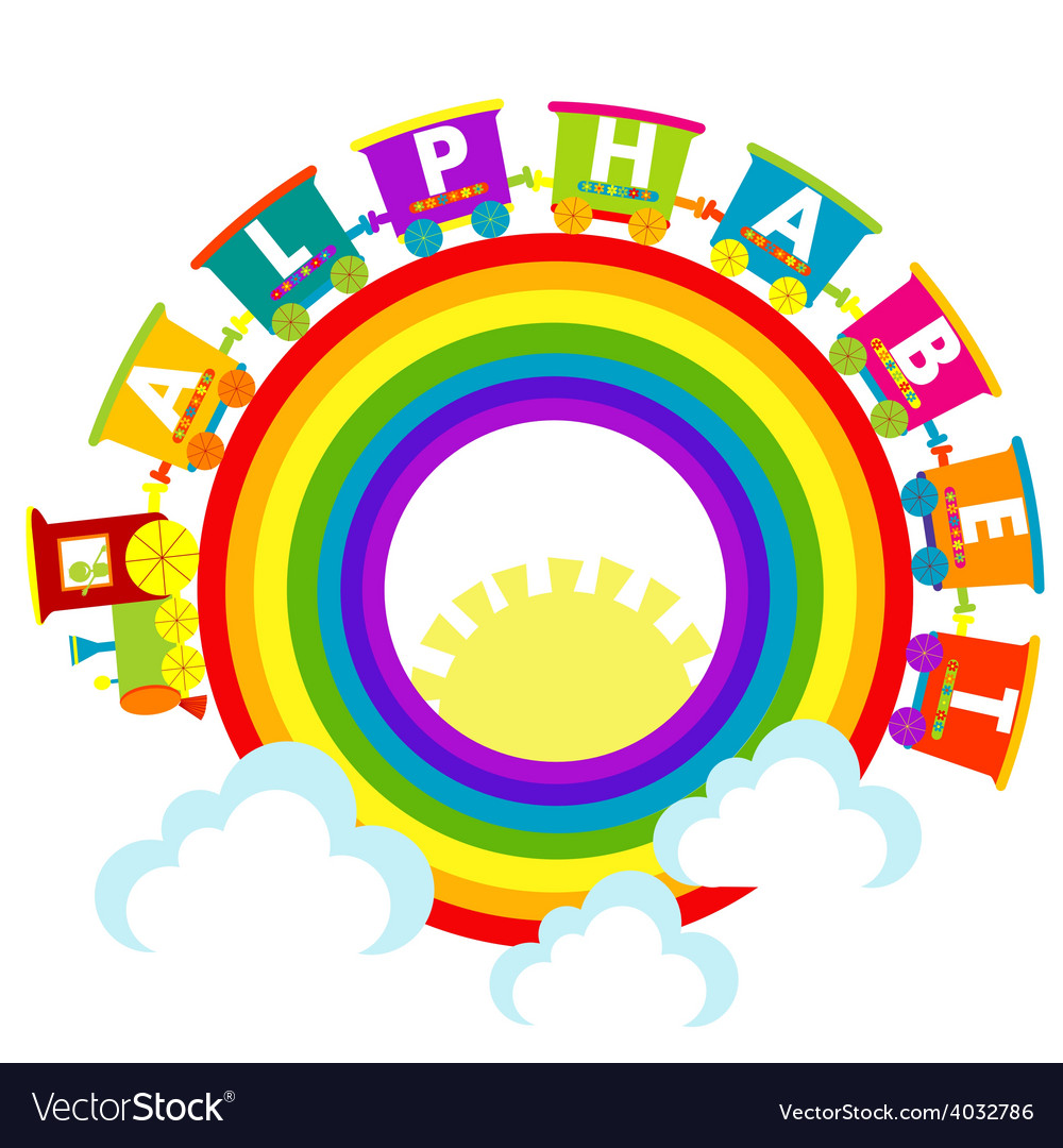 Alphabet train with raindow and clouds vector