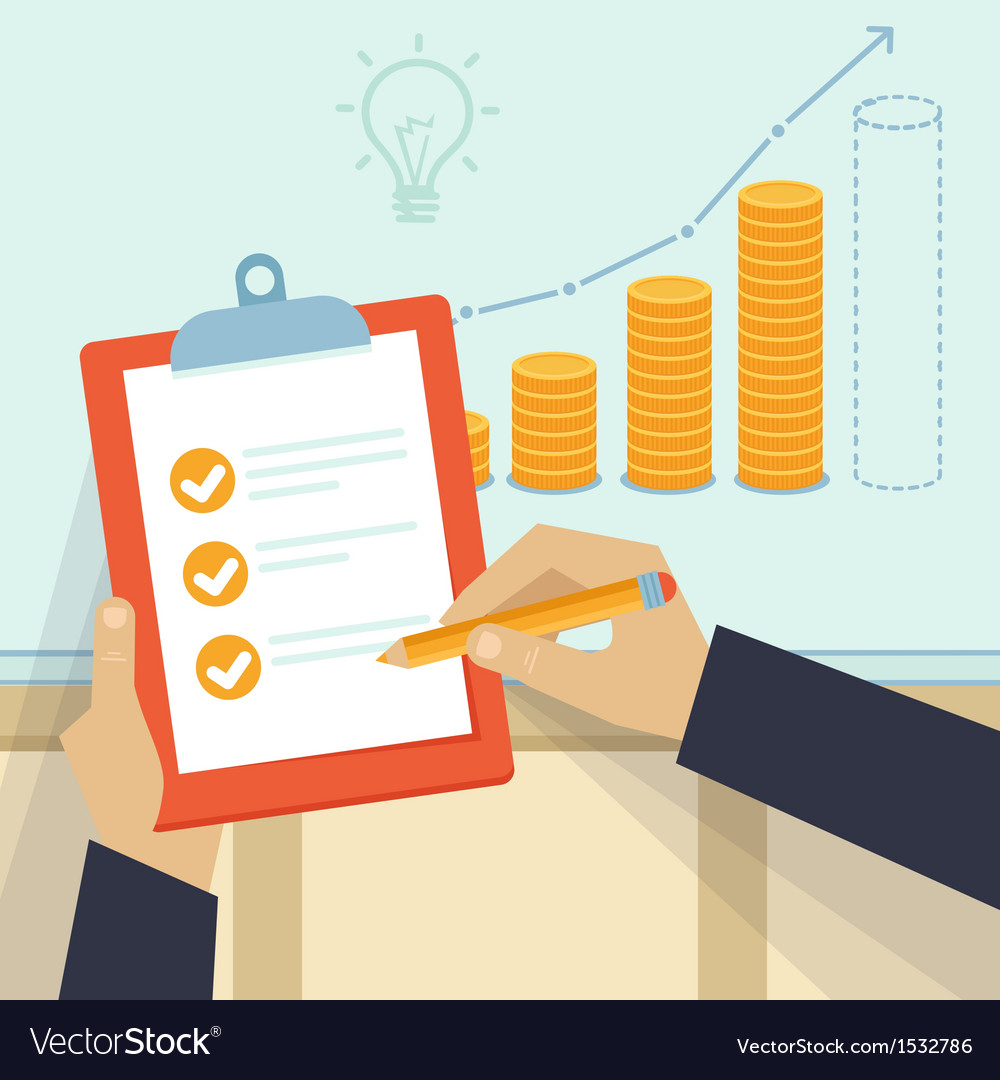 Financial business plan - hand holding report and vector