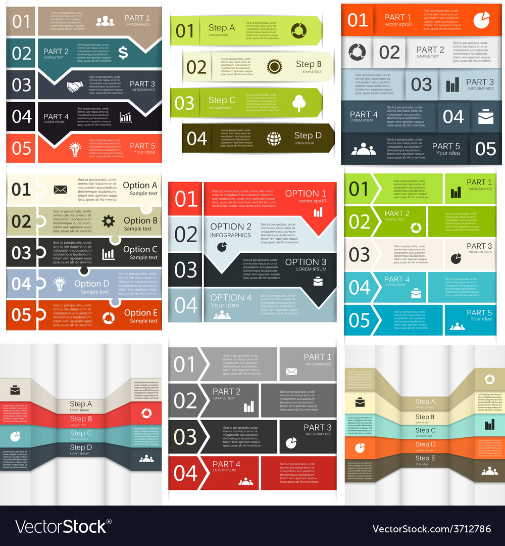 Lines infographics set vector