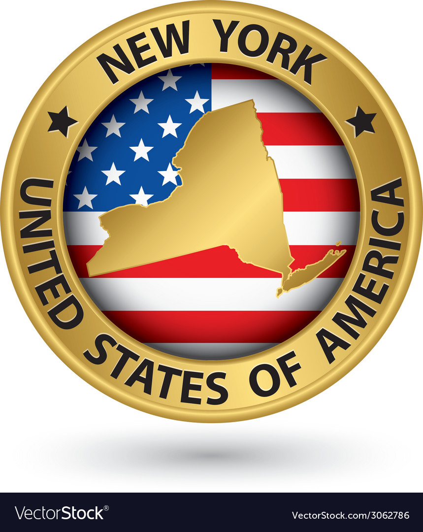 New york state gold label with state map vector