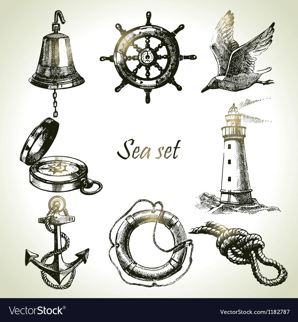 Sea set of nautical design elements vector