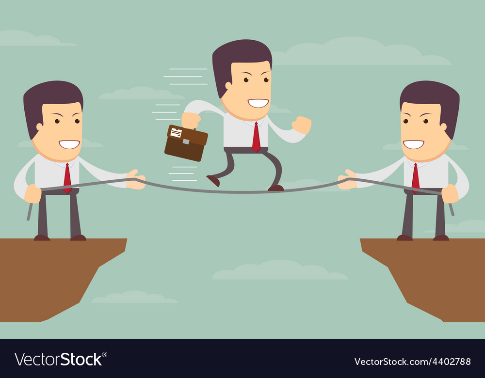 Abstract businessmen pulling together on a cliff vector