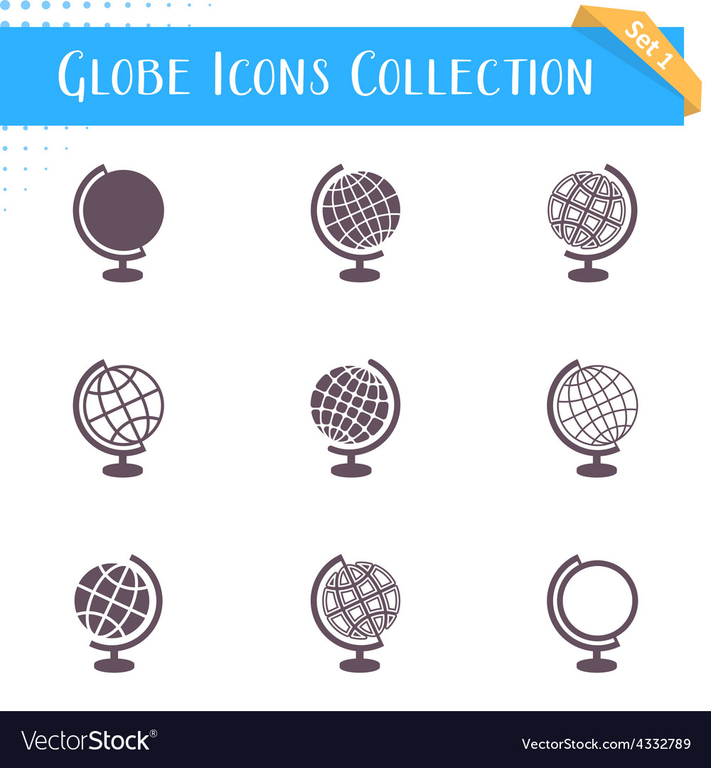 Globe icons collection vector