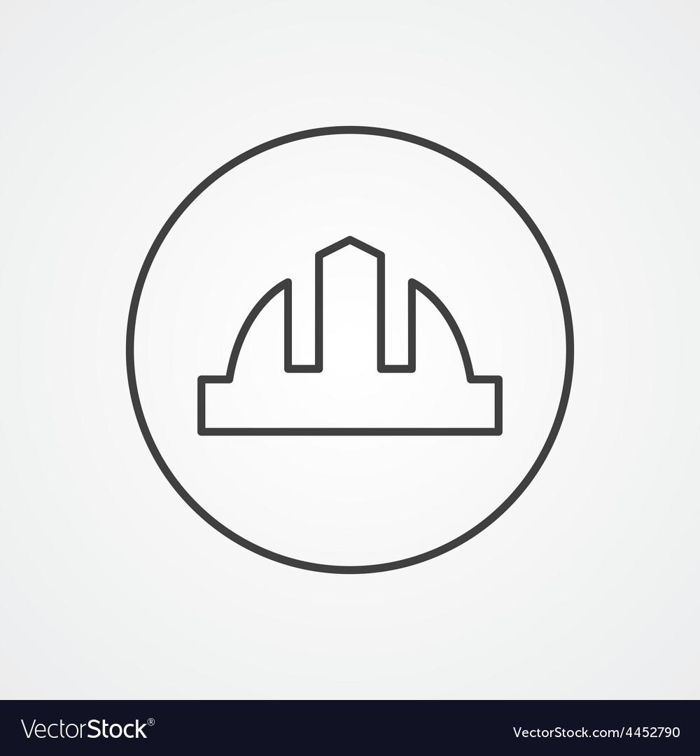 Construction helmet outline symbol dark on white vector