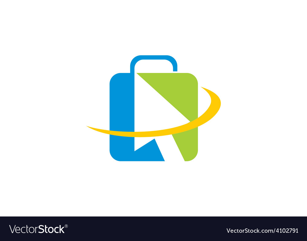 Online travel abstract bag logo vector