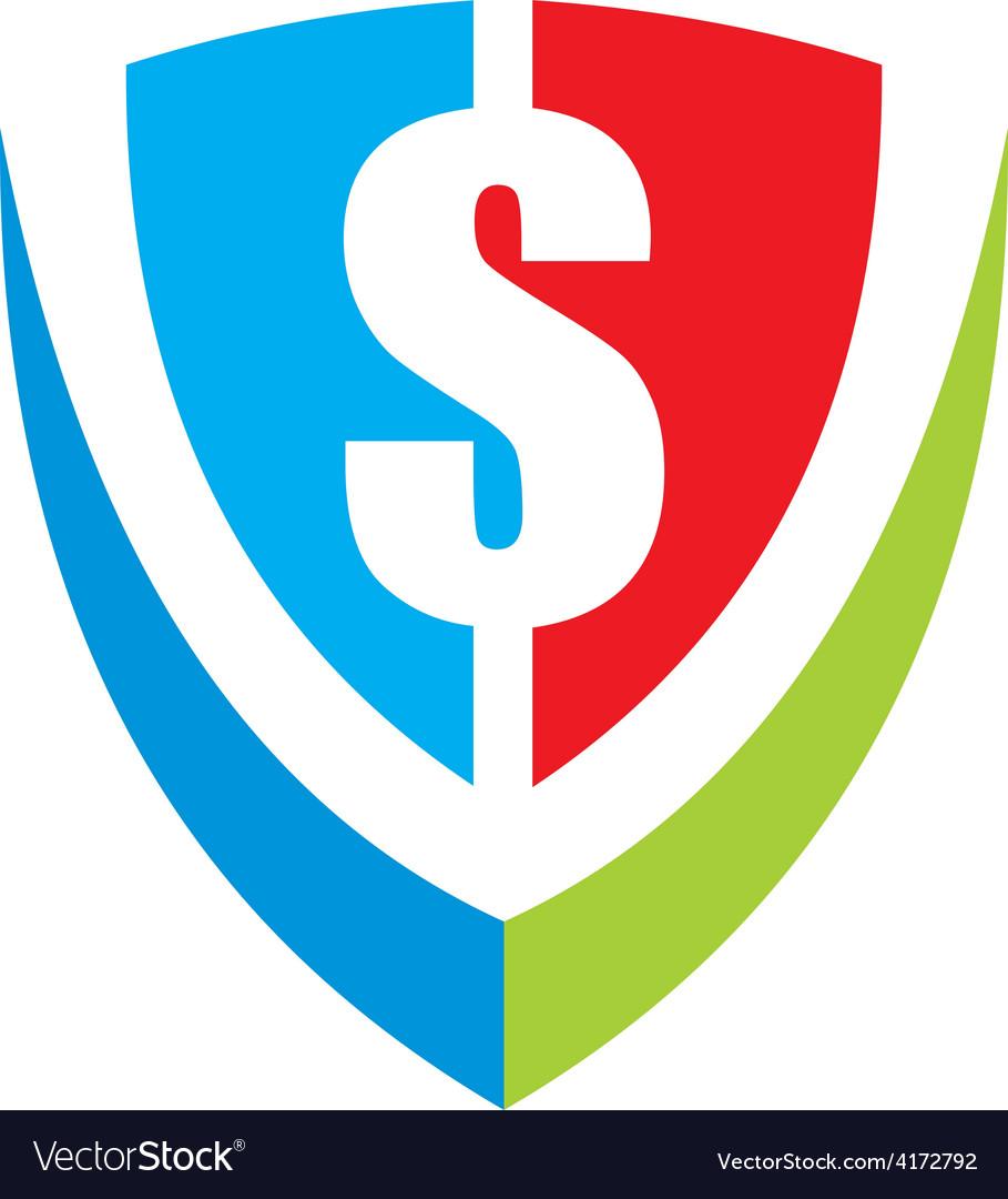 Dollar shield logo vector