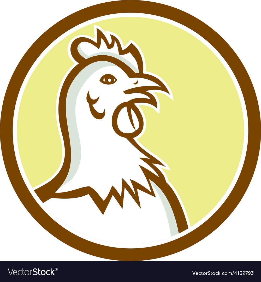 Chicken hen head side circle cartoon vector