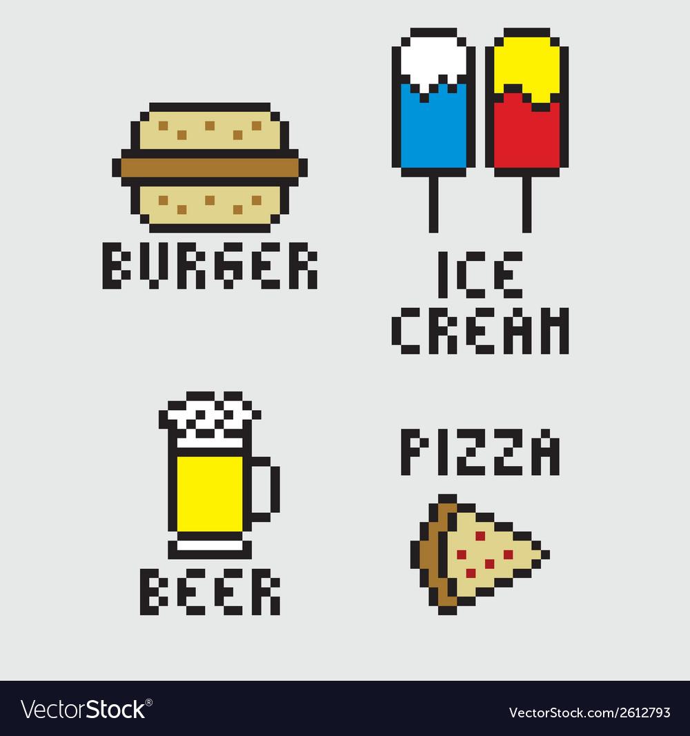 Pixel food vector