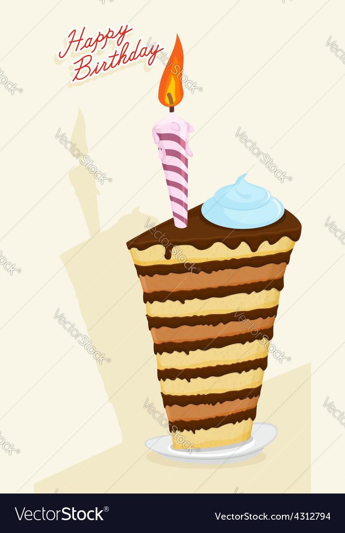 Cartoon high cake happy birthday postcard vector