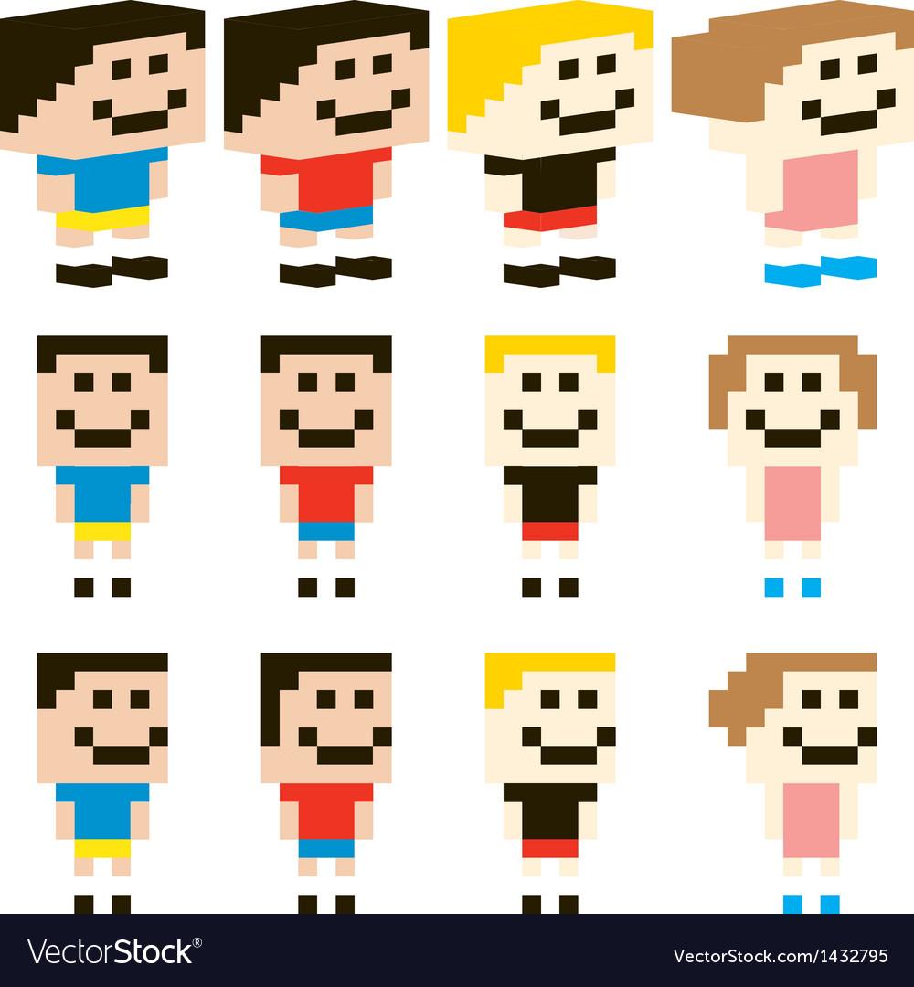 Pixel art kids character design vector