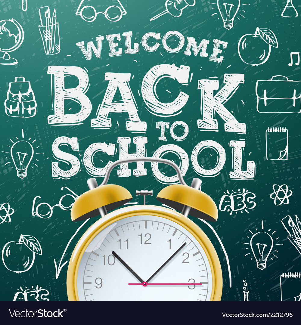 Back to school background with alarm clock vector