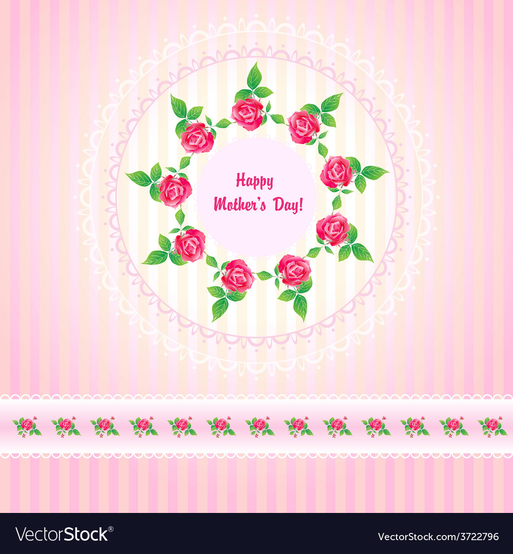 Beautiful roses post card for mothers day vector