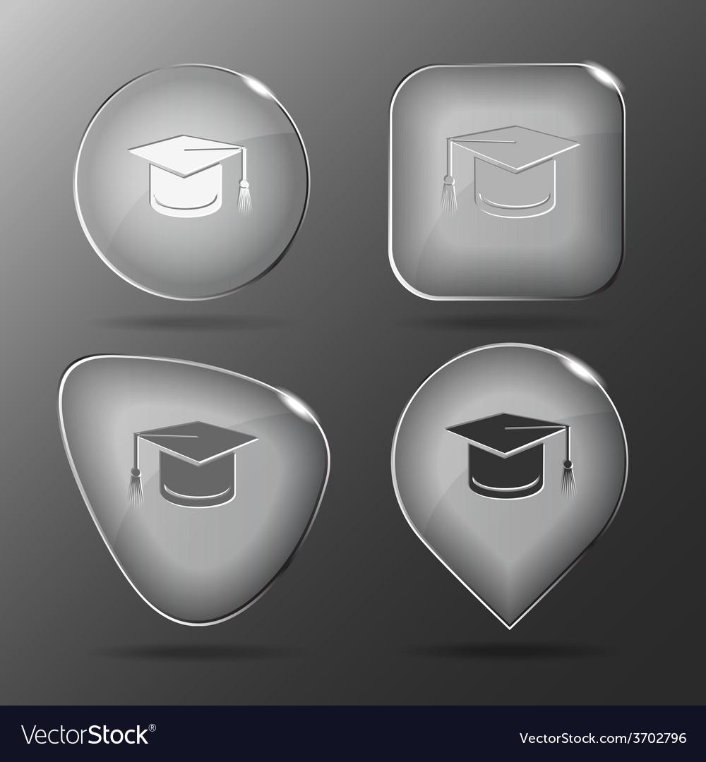 Graduation cap glass buttons vector