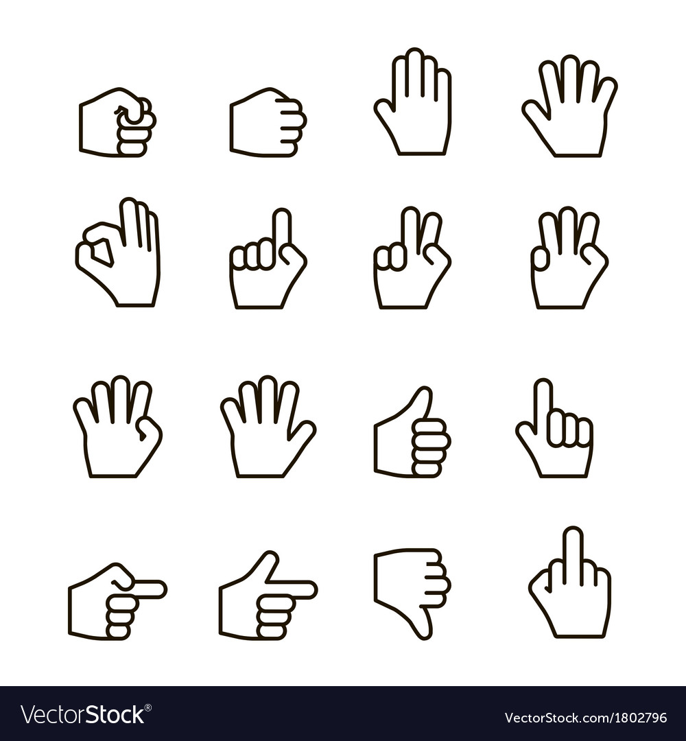 Hand gestures iconset contour flat vector