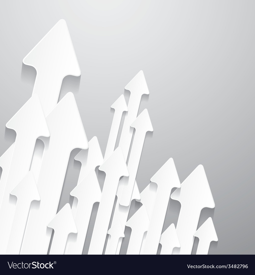 Paper cut arrows on grey background vector