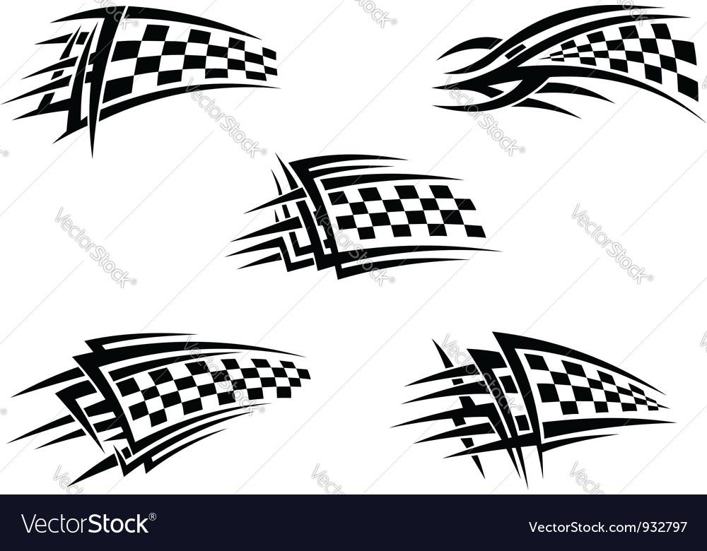 Set of checker racing flags vector