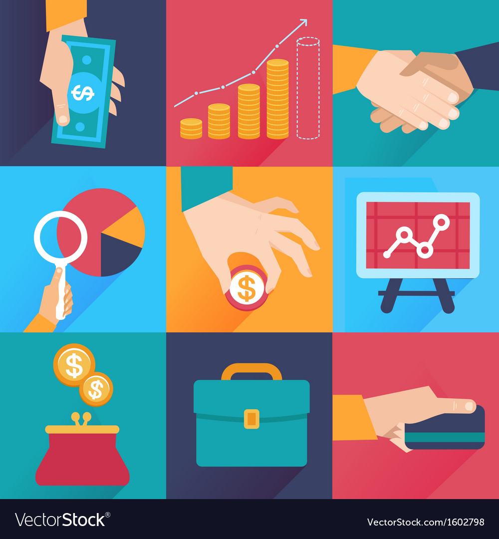 Icons in flat style - finance and business vector