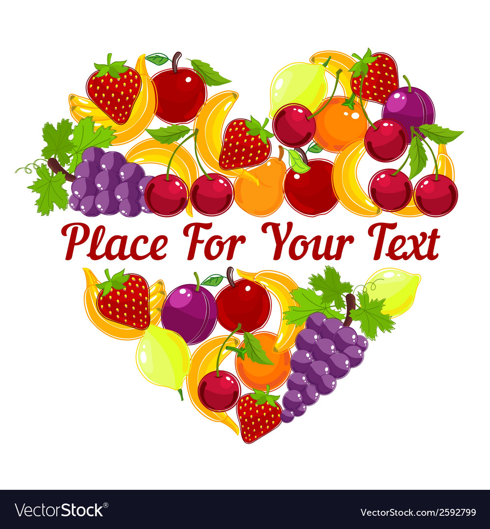 Heart shape from fresh fruit with copyspace vector