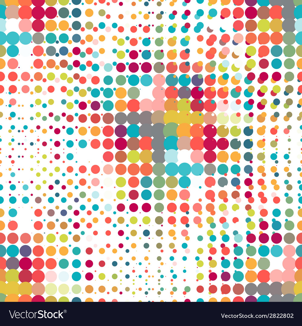 Disco seamless pattern of halftone dots in retro vector
