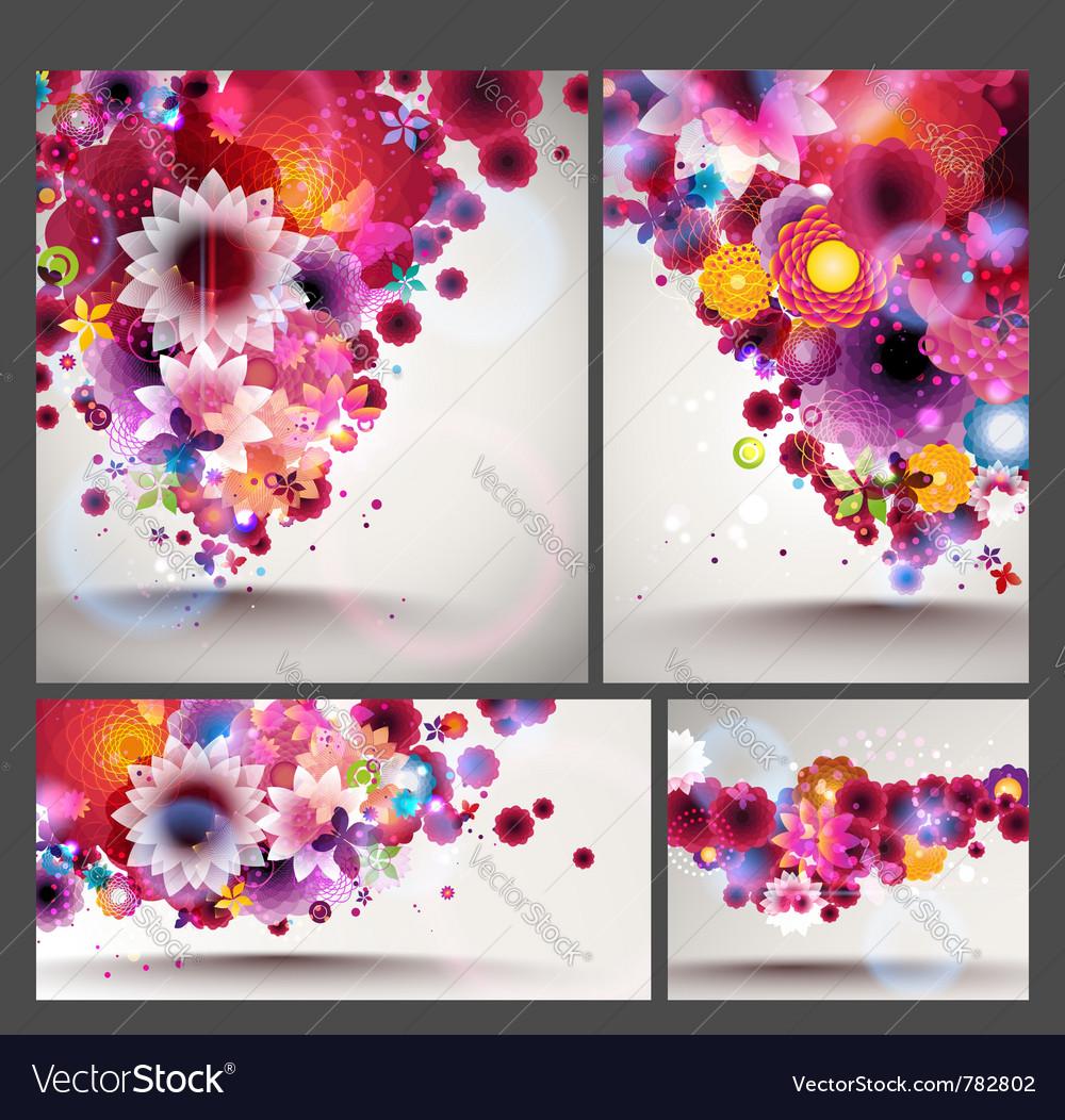 Flower spring background set vector