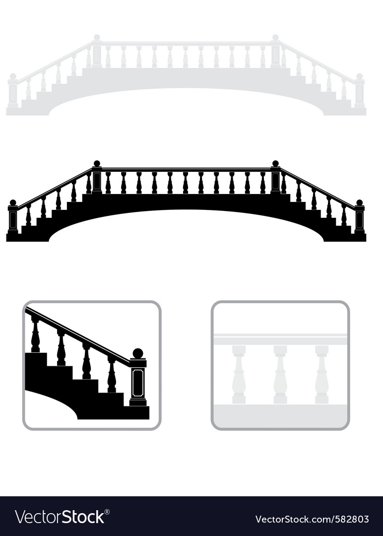 Ancient arch stone bridge silhouettes vector