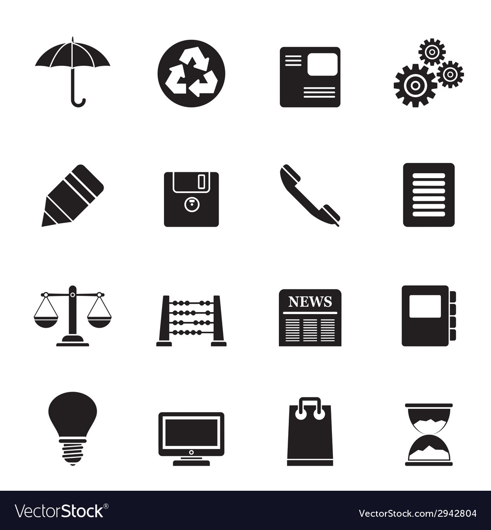 Silhouette business and office internet icons vector