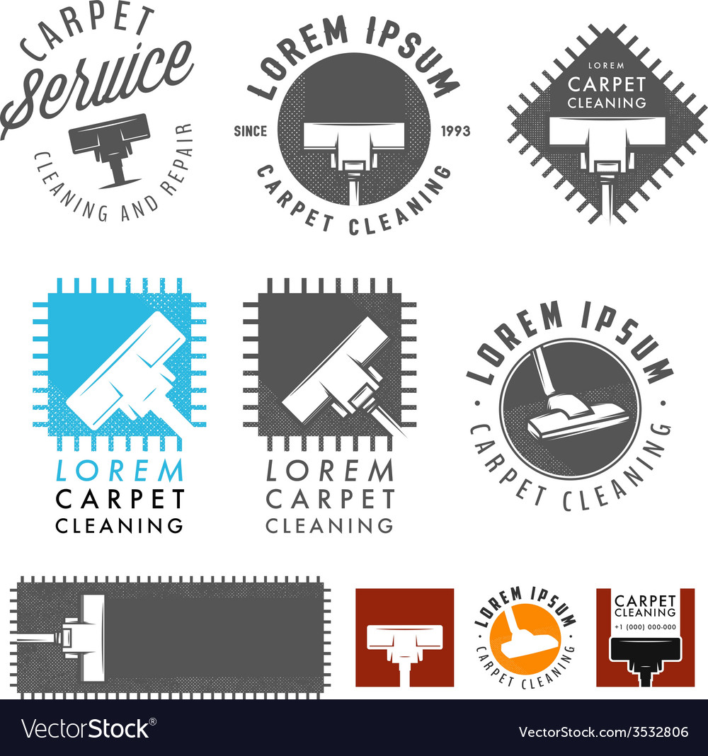 Set of retro carpet cleaning labels and emblems vector