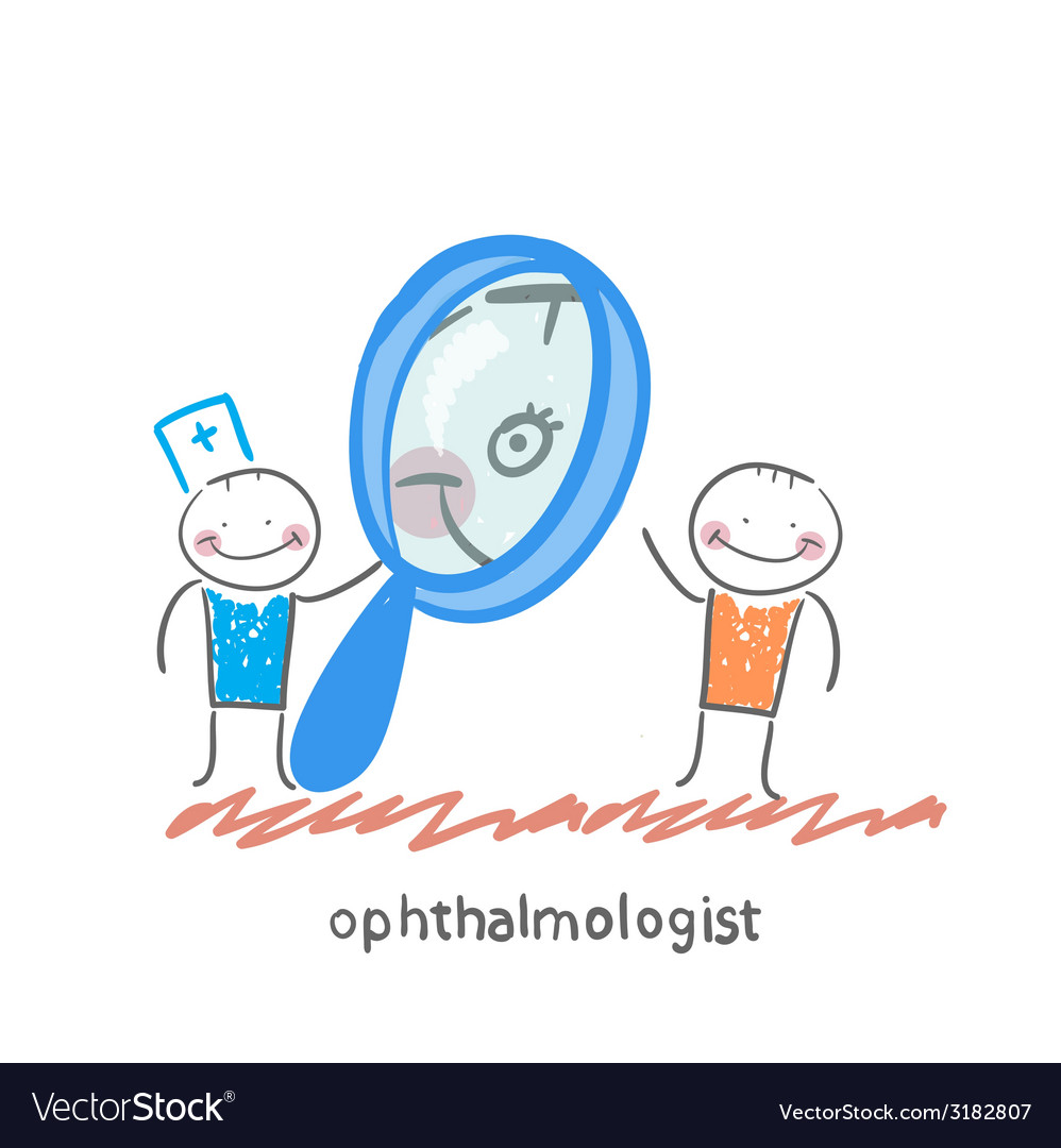 Ophthalmologist looking through a magnifying glass vector