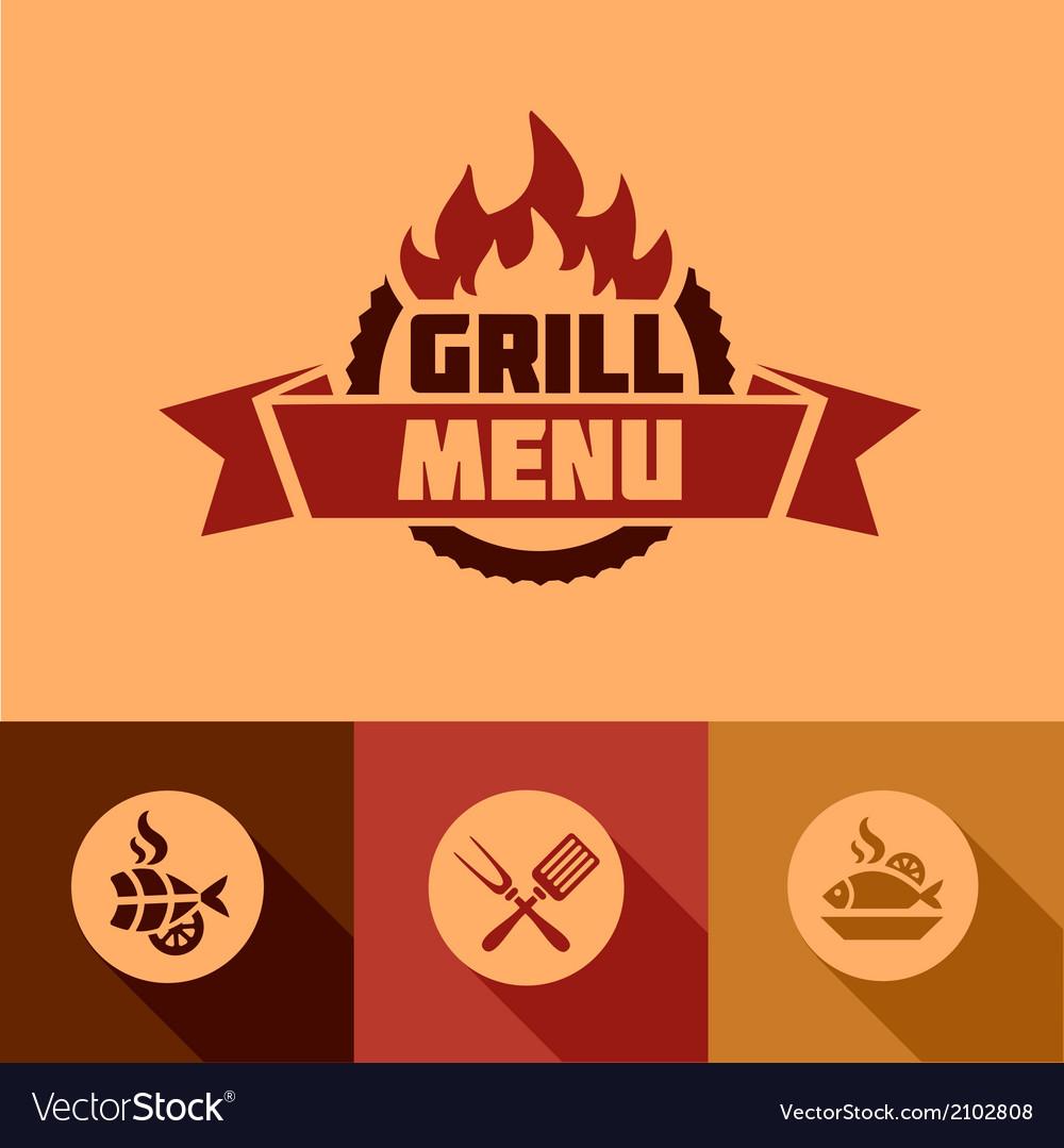 Flat grill menu design elements vector