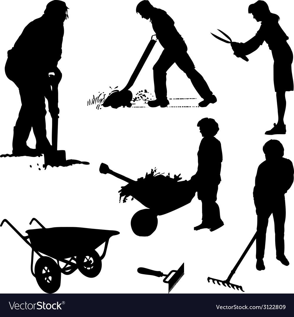 Gardeners and tools vector
